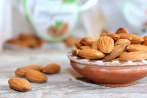 bowl of raw unsalted almonds