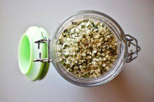 raw hemp seeds in mason jar