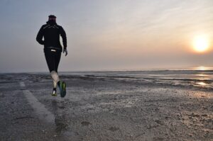 running on a beach for exercise