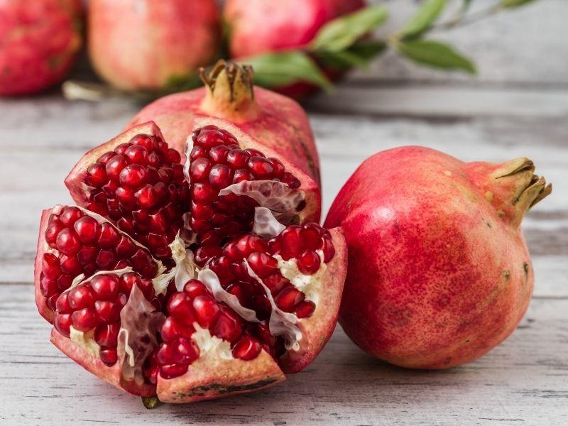 sliced up pomegranate