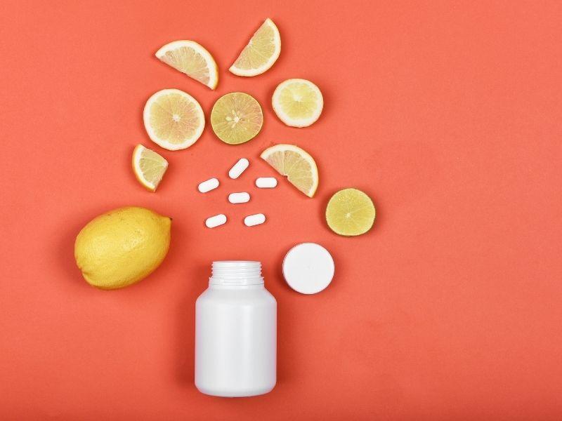 pot of vitamin c supplements