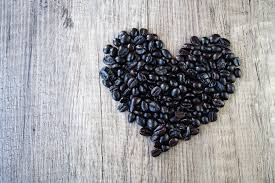 black beans in a heart shape