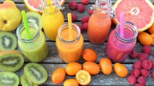 colourful fruits and fruit juices