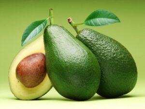 halved, fresh avocado