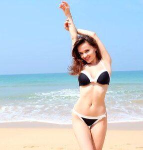 girl on the beach in a bikini