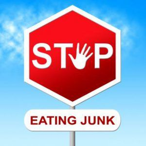 stop eating junk sign