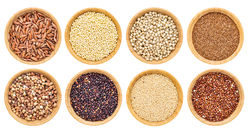bowls of wholegrain rice and pulses