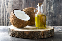 fresh coconut flesh and olive oil