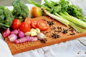 chopping board of vegetables