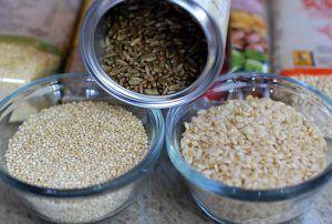 brown rice, white rice, quinoa