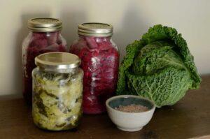 fermented white and red cabbage sauerkraut