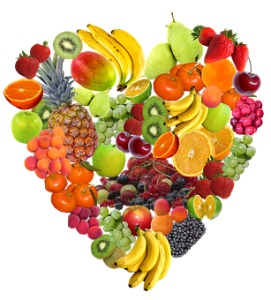 assorted fresh fruit heart shape
