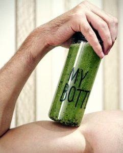bottle of green smoothie