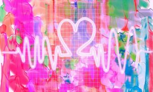 heart beat on pink watercolour background