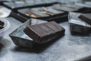 dark chocolate in trays