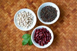 kidney beans and green lentils
