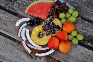 pineapple, coconut, apricots, water melon, blackberries, grapes