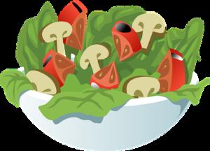 salad bowl of green leaves, mushroom, tomato