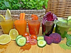 colourful vegetable juices