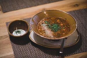 homemade lentil soup in bowl