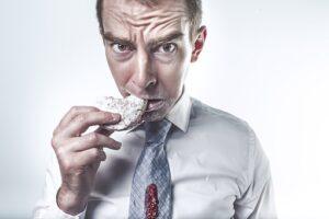 man snacking