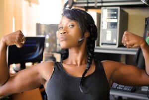 woman flexing biceps