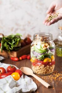 layered salad jar