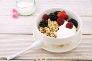 homemade granola and berries