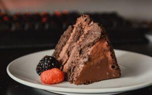 chocolate cake and ganache