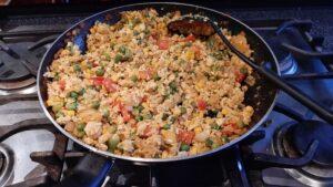 tofu fried rice in pan